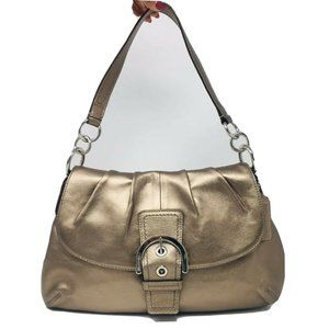 Coach Metallic Leather Front Clasp Shoulder Bag